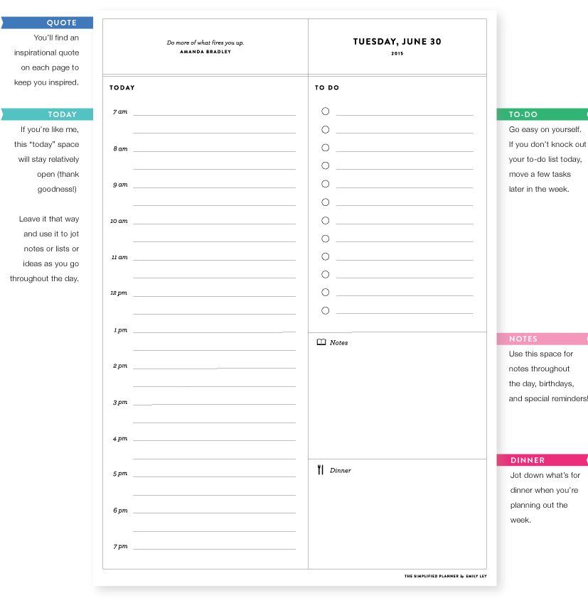 Inside photos of the Emily Ley 2015 Simplified Planner