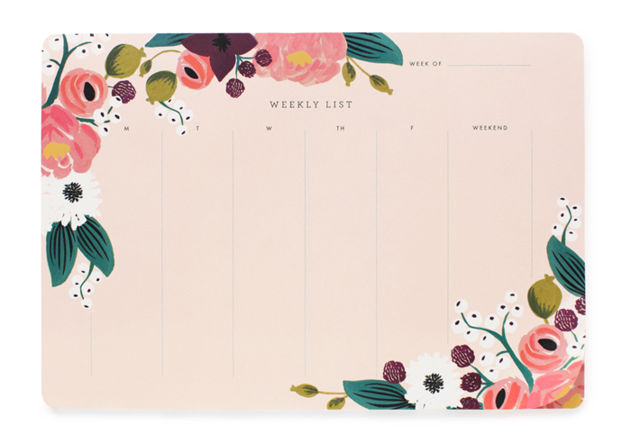 Pink Floral Weekly Desk Pad Rifle Paper Co.