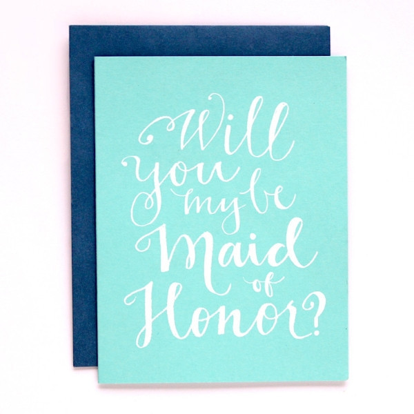 9th letterpress maid of honor card