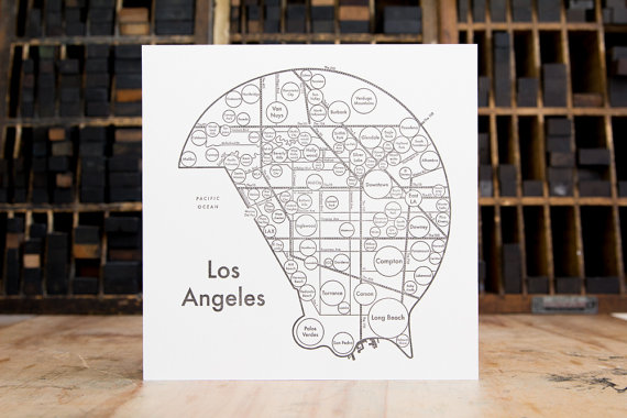 Los Angeles Letterpress Print
