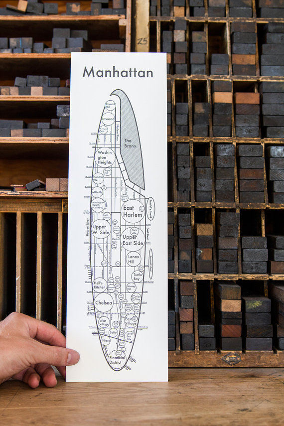 Manhattan Map Letterpress New York