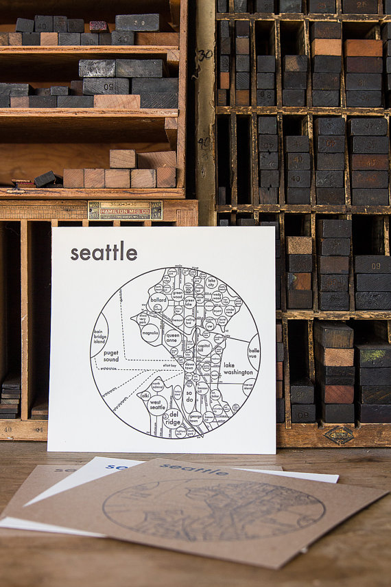 Seattle Map Letterpress