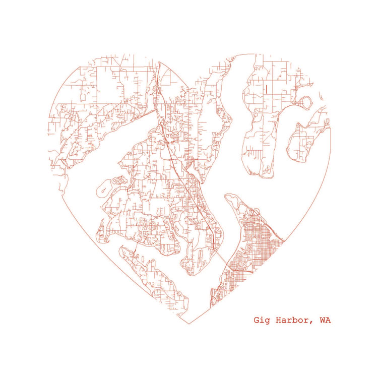 Gig Harbor Heart Map Print
