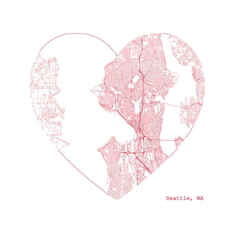 Seattle Heart Map Print