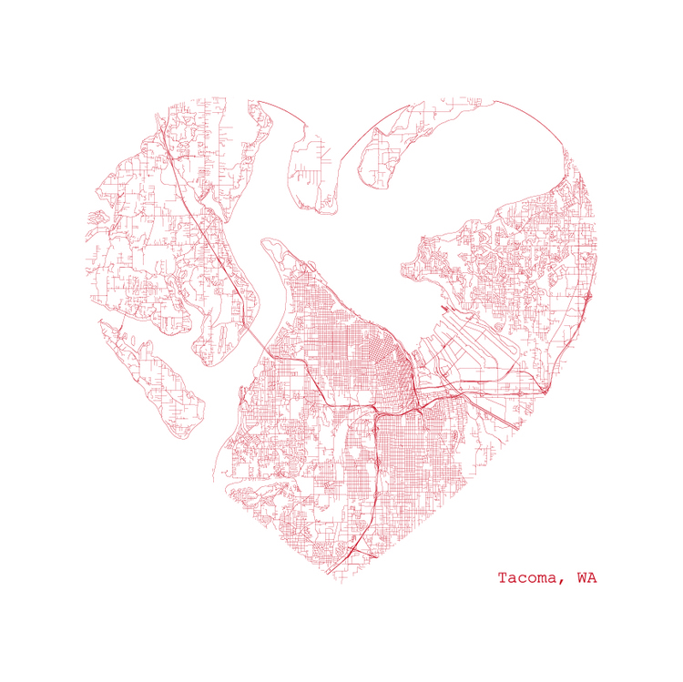 Tacoma Heart Map Print
