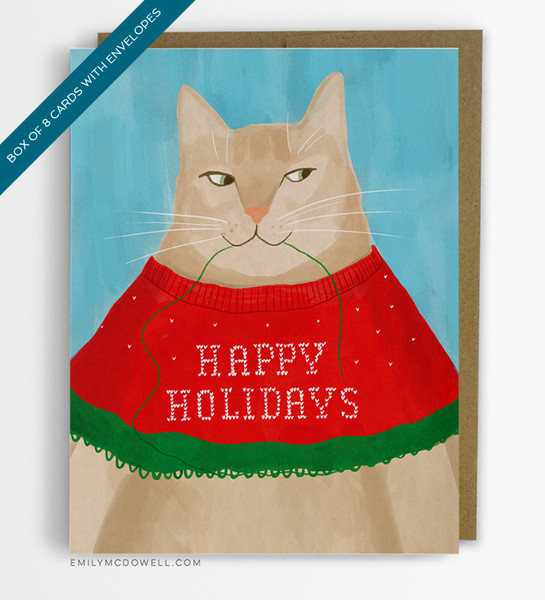 Happy Holidays Cat in Sweater