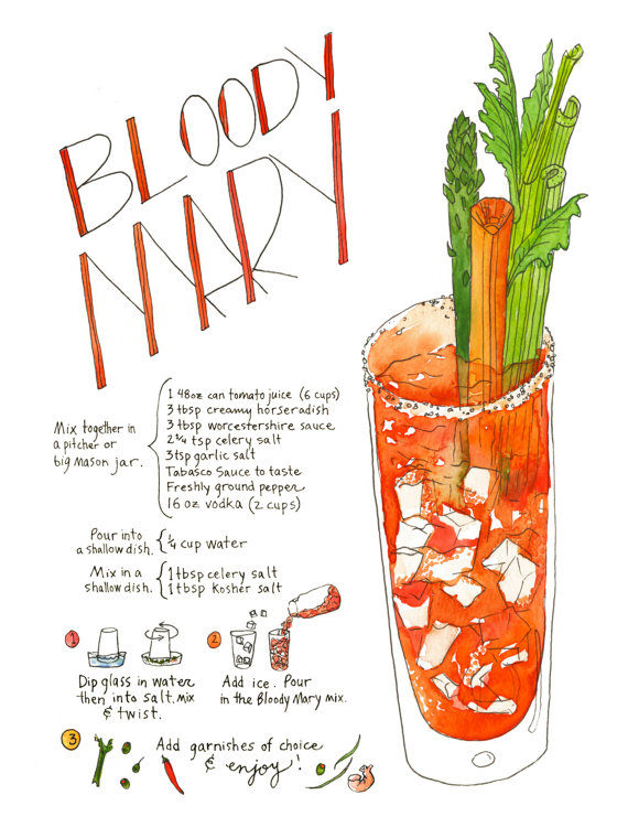 Bloody Mary Recipe Print Marcella Kriebel