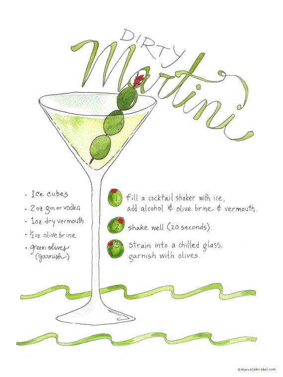 Dirty Martini Recipe Print Marcella Kriebel