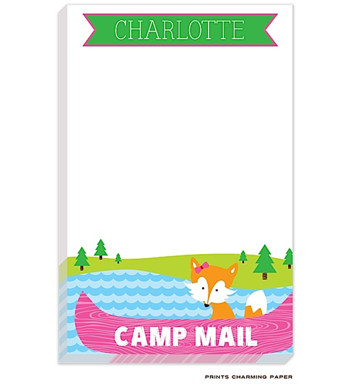 Personalized Camp Stationery Fox Canoe