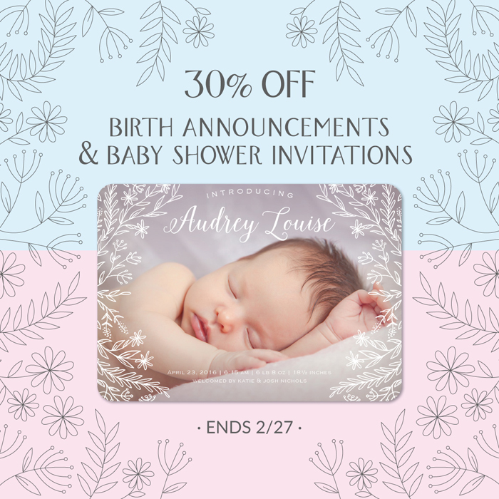 Birth Announcement & Baby Shower Invitation Sale